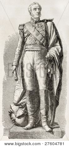 Marshal Louis Gabriel  Suchet, Duke of Albufera. Statue in Lyon. Created by Marc after sculpture of  Dumont, published on L'Illustration, Journal Universel, Paris, 1858 poster