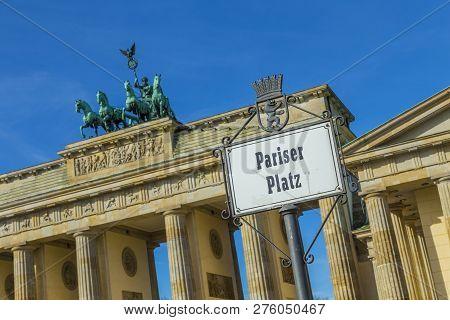 Street Sign Parisien Place (pariser Platz)  At The  Brandenburg Gate In Berlin, Germany