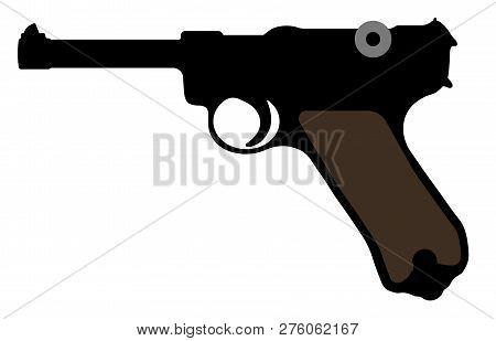 Luger Pistol, Parabellum Gun. Vector Silhouette Weapon