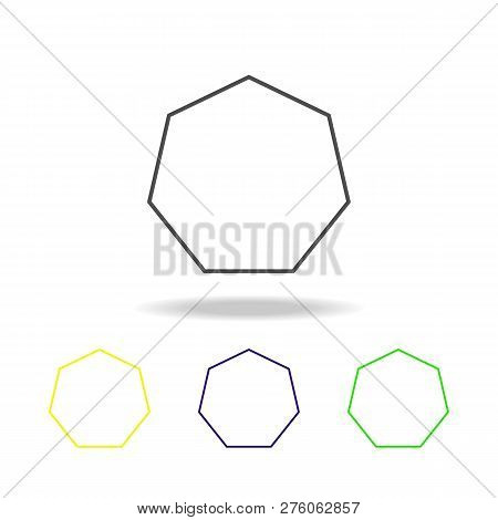 Heptagon Colored Icon. Can Be Used For Web, Logo, Mobile App, Ui, Ux