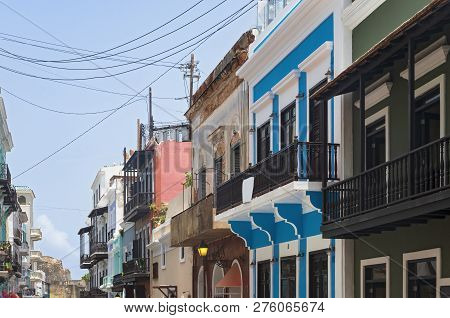 Streets And Colorful Storefront Facades In Old San Juan Puerto Rico