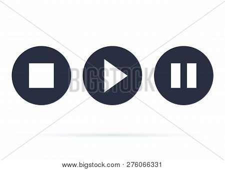Button Player Vector Icon. Stop Play And Pause Buttons For Web Design. Video Player In A Flat Style.