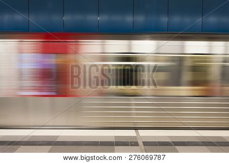 Blurred Motion Of The Train In Underground Station Of Subway