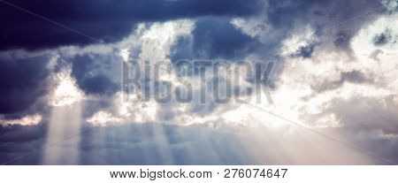 Abstract Natural Background, Sky And Puffy Clouds, A Heavenly Light