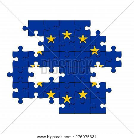 EU Crisis Concept: Incomplete EU Flag Jigsaw Puzzle With Missing Pieces, 3d illustration Against A White Background poster