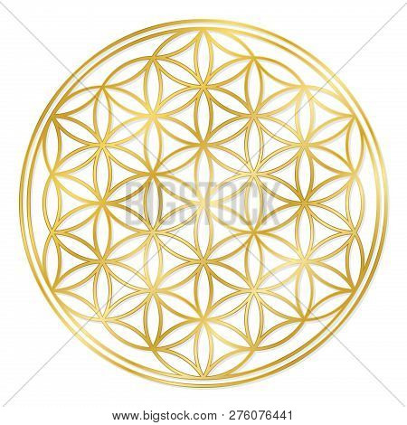 Golden Flower Of Life, Used For Decoration Or Golden Pendant. Geometrical Symbol On White Background