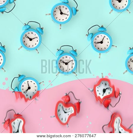 Time Is Running Out. Melted Red Alarm Clocks