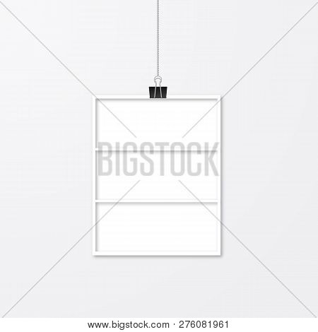 Realistic Isolated White Paper Photo Frame Hanging With Binder Clips. Template Collage Vector Illust