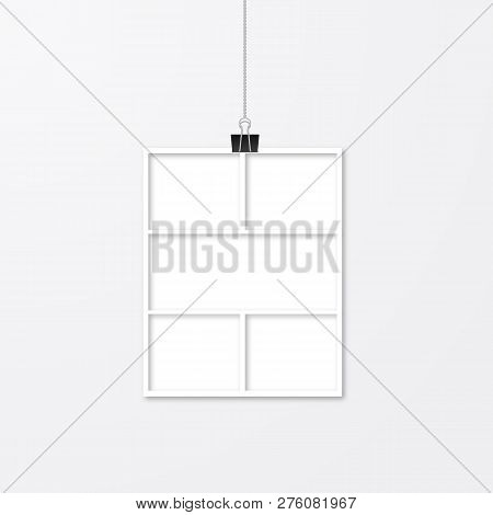 Realistic White Paper Photo Frame Hanging With Binder Clips. Template Collage Vector Illustration Is