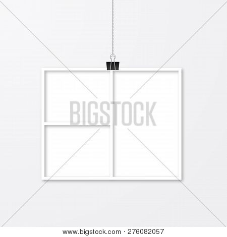 Realistic Photo Frame Hanging With Binder Clips. Paper Cut Image. Collage Layout Vector Illustration