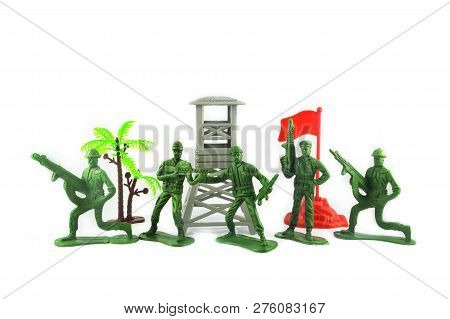 Toy Soldier Isolated On White Background Group Of Miniature Toy Soldier With Palm Tree And Flag