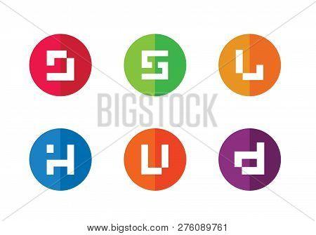 Alphabet J,  S, L, H, U, D Logo Set Geometric Letter Flat Icons, Digital Technology Concept