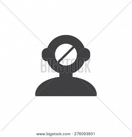 Human Mind Reject Vector Icon. Filled Flat Sign For Mobile Concept And Web Design. Human Head Denied