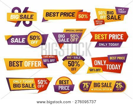 Retail Sale Tags. Cheap Price Flyer, Best Offer Price And Big Sale Pricing Tag Badge Design Isolated