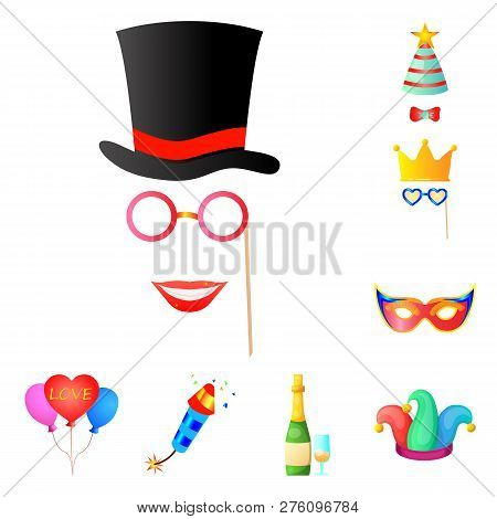 Vector Illustration Of Party And Birthday Logo. Set Of Party And Celebration Stock Vector Illustrati