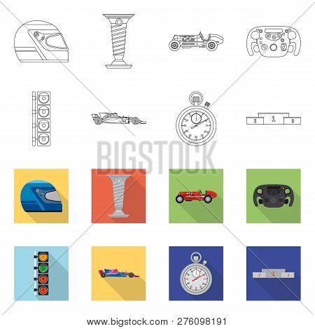 Vector Illustration Of Car And Rally Icon. Set Of Car And Race Vector Icon For Stock.