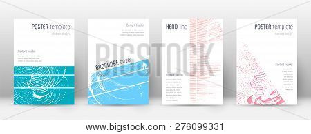 Cover page design template. Geometric brochure layout. Bizarre trendy abstract cover page. Pink and blue grunge texture background. Uncommon poster. poster