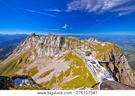 Pilatus Kulm Mountain Peak And Surrounding Alpine Peaks View, Alpine Peaks Of Switzerland
