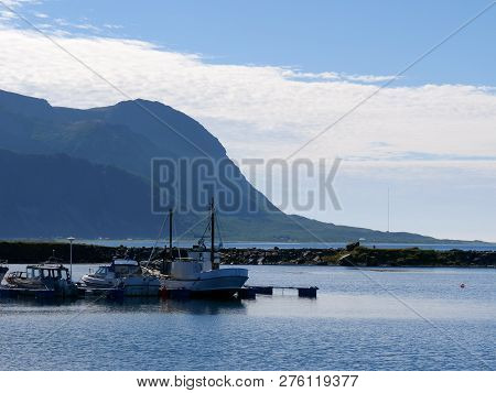 Scenic Seascape With Fishing Port At Hovsund Village, Gimsoya Lofoten Islands In Norway