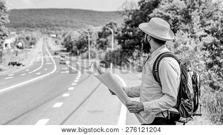 Where Should I Go. Tourist Backpacker Map Lost Direction Travelling. Around The World. Map Allow Rec