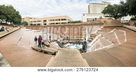 Panorama View Water Gardens In Downtown Fort Worth With Visitors