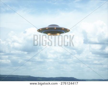 Unidentified Flying Object. Ufo With Clipping Path Included. 3d Illustration In Real Picture. 3d Ill