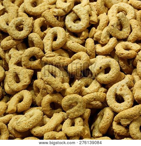Background Of Baked Rings Called Taralli Or Tarallini In Italian Language