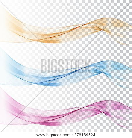 Abstract Blue And Pink Wave Set On Transparent Background. Vector Illustration.