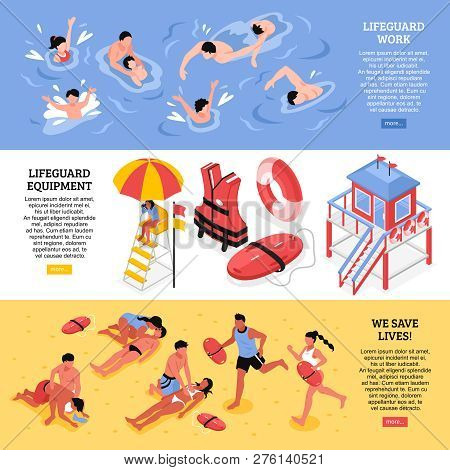 Beach Lifeguards Horizontal Banners  Illustrated Lifeguard Work Equipment And Rescue Accessories Iso
