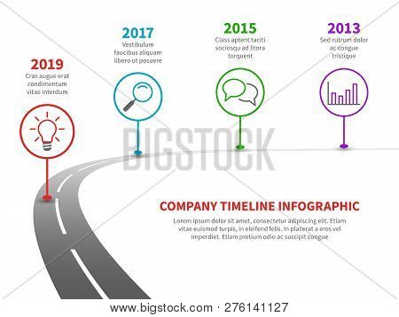 Timeline Road Infographic. Strategy Process To Success Roadmap With History Milestones. Business Com