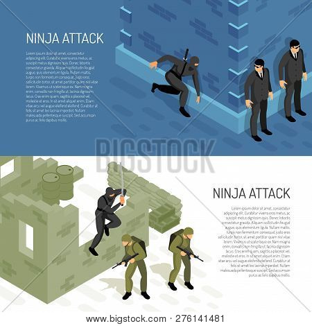 Video Games Ninja Character Warrior Attacks Soldiers And Civil Agents 2 Horizontal Isometric Backgro