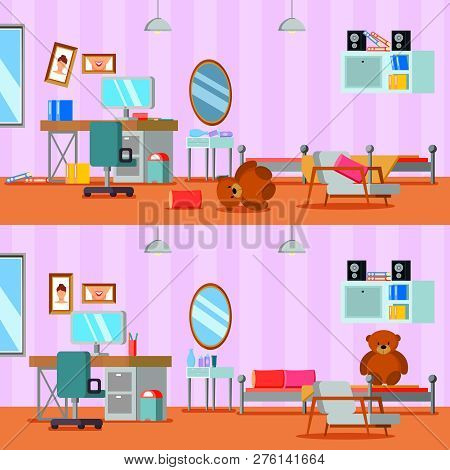 Untidy And Cleaned Teen Room Of Girl In Lilac Orange Color Flat Compositions Isolated Vector Illustr