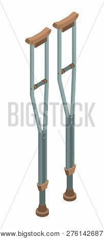 Physical Crutches Icon. Isometric Of Physical Crutches Icon For Web Design Isolated On White Backgro