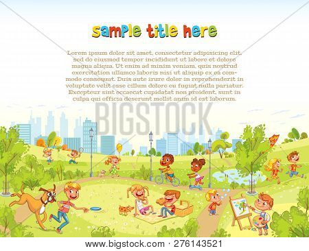 Walking Children In City Park. Playground. Template For Advertising Brochure. Ready For Your Message