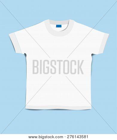 T-shirt Template. T-shirt On A Blue Background. Beautiful White T-shirt On A Blue Background. T Shir