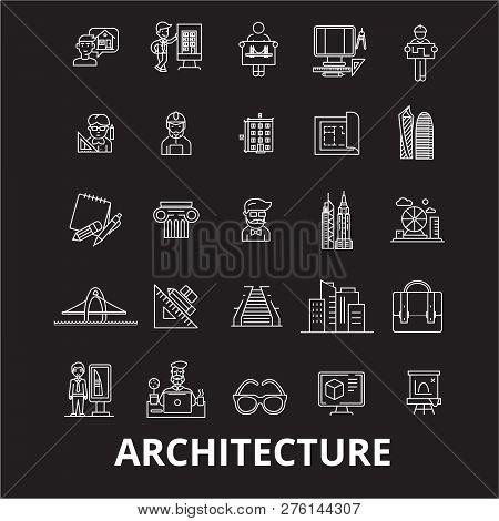 Architecture Editable Line Icons Vector Set On Black Background. Architecture White Outline Illustra
