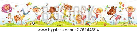 Happy Kids Jumping And Dancing Together On The Background Of Entertainment Amusement Park. Seamless