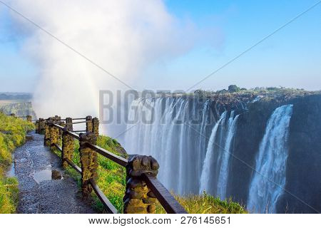 Livingstone - Zambia / July 2017: View Of Victoria Falls  At Zambia Side, One Of Most Iconic African