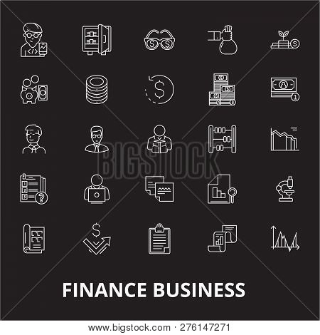 Finance Business Editable Line Icons Vector Set On Black Background. Finance Business White Outline