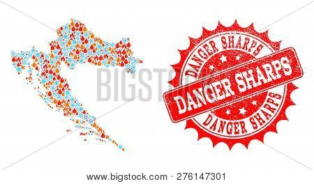 Composition Of Winter And Fire Map Of Croatia And Danger Sharps Grunge Stamp Seal. Mosaic Vector Map