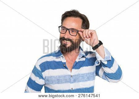 Curious Glance. Portrait Of Smiling Bearded Mature Man Expressing Interest While Looking Away And To