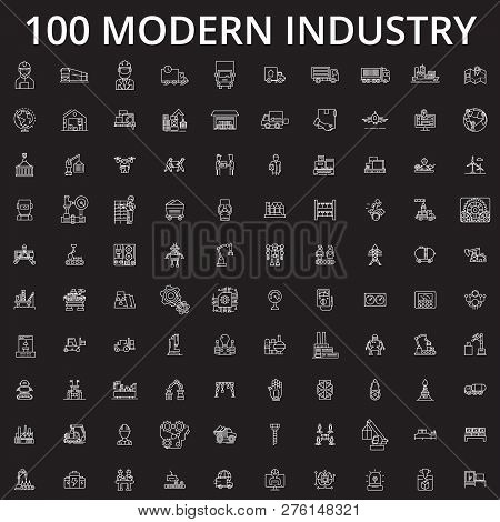 Industry Icons Editable Line Icons Vector Set On Black Background. Industry Icons White Outline Illu