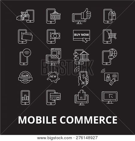 Mobile Commerce Editable Line Icons Vector Set On Black Background. Mobile Commerce White Outline Il