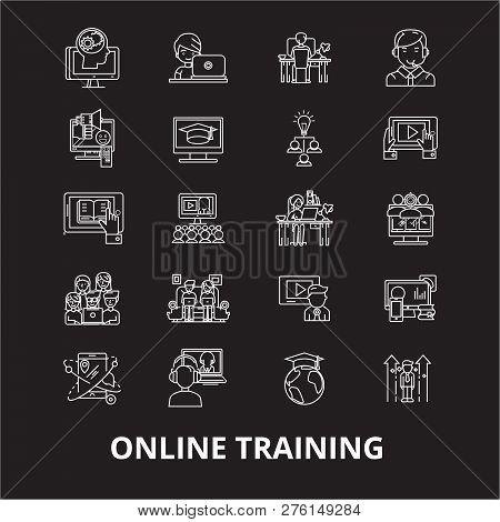Online Training Editable Line Icons Vector Set On Black Background. Online Training White Outline Il
