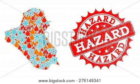 Composition Of Snowflake And Fire Map Of Iraq And Hazard Grunge Stamp Seal. Mosaic Vector Map Of Ira