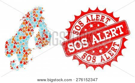 Composition of winter and fire map of Scandinavia and Sos Alert grunge stamp seal. Mosaic vector map of Scandinavia is formed with winter and flame icons. Sos Alert stamp has red color, poster