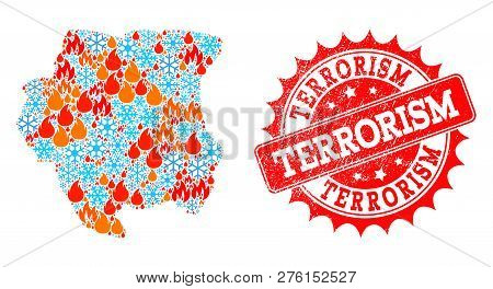 Composition Of Winter And Fire Map Of Suriname And Terrorism Grunge Stamp Seal. Mosaic Vector Map Of
