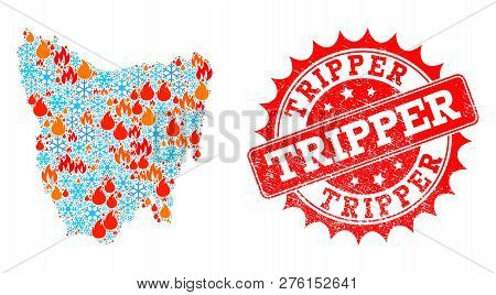 Composition Of Winter And Flame Map Of Tasmania Island And Tripper Grunge Stamp Seal. Mosaic Vector