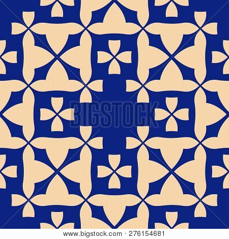 Vector Abstract Geometric Floral Texture. Elegant Seamless Pattern With Flower Shapes, Mosaic Tiles,