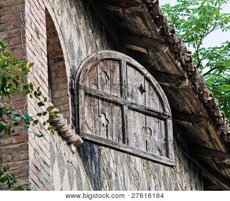 Closeup of a typical house of Grazzano Visconti. Emilia-Romagna. Italy. poster